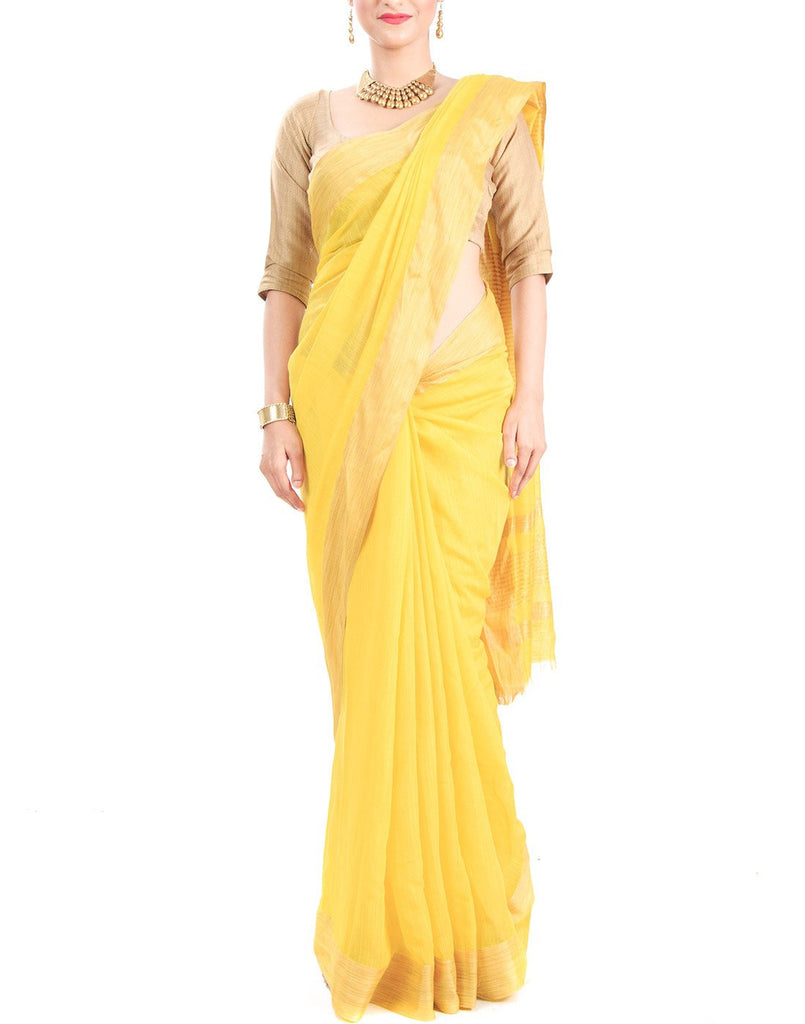 Lime Yellow Tussar Silk Saree