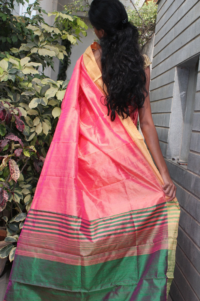 Peach Raw Silk