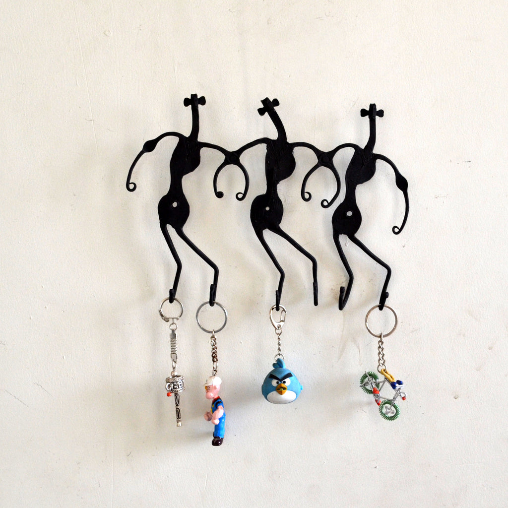 Wrought Iron 6 Hook Tribal key chain Holder