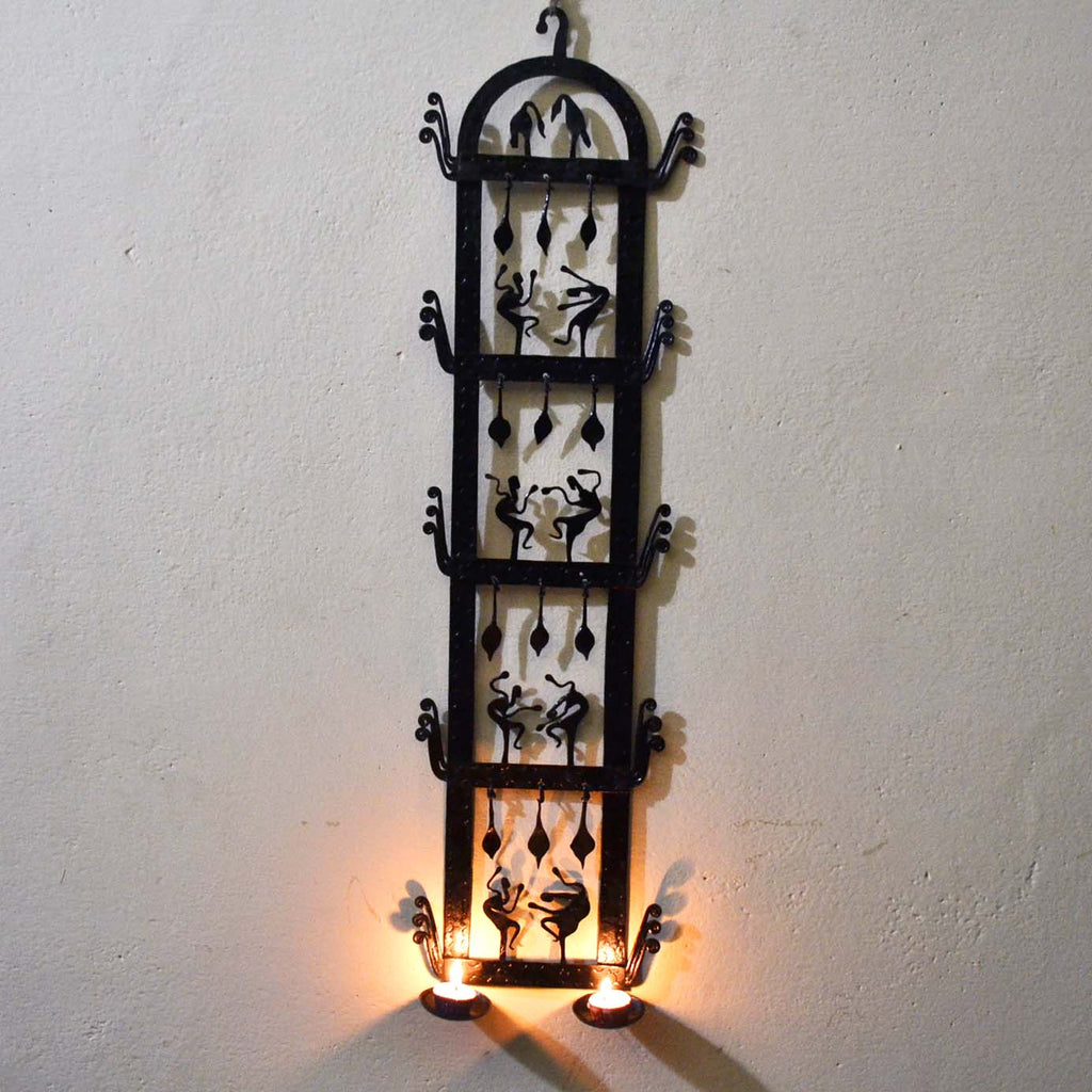 Wrought Iron 2 candle Holder wall decorative