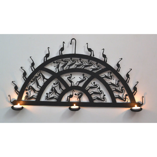Wrought Iron 3 candle Holder semicircle  wall decorative