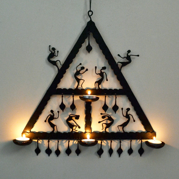 Wrought Iron 4 candle Holder Triangle wall decorative