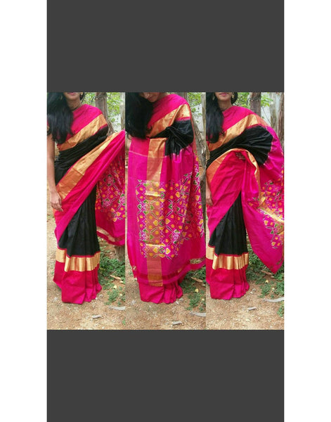 Black Pure Ikkat Silk Saree