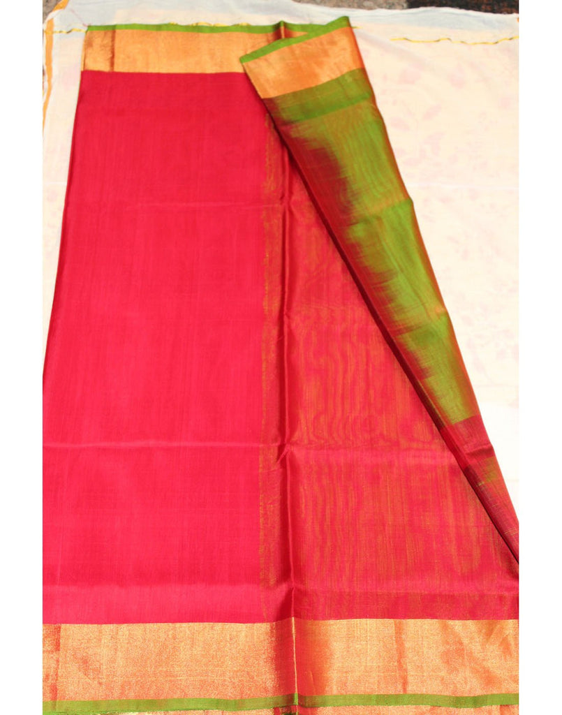 Cherry Red Uppada Silk Saree