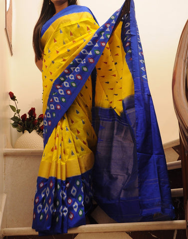Yellow Pure Ikkat Silk Saree