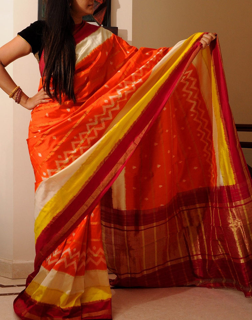 Deep Orange Pure Ikkat Silk Saree