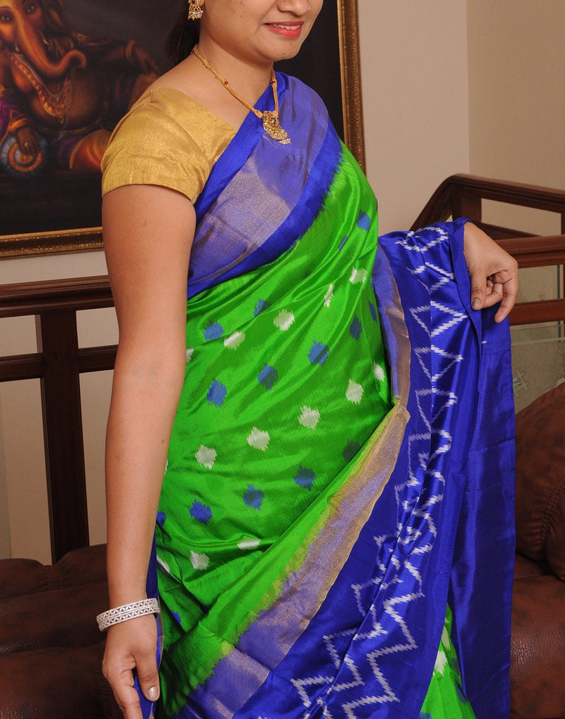 Green Pure Ikkat Silk Saree