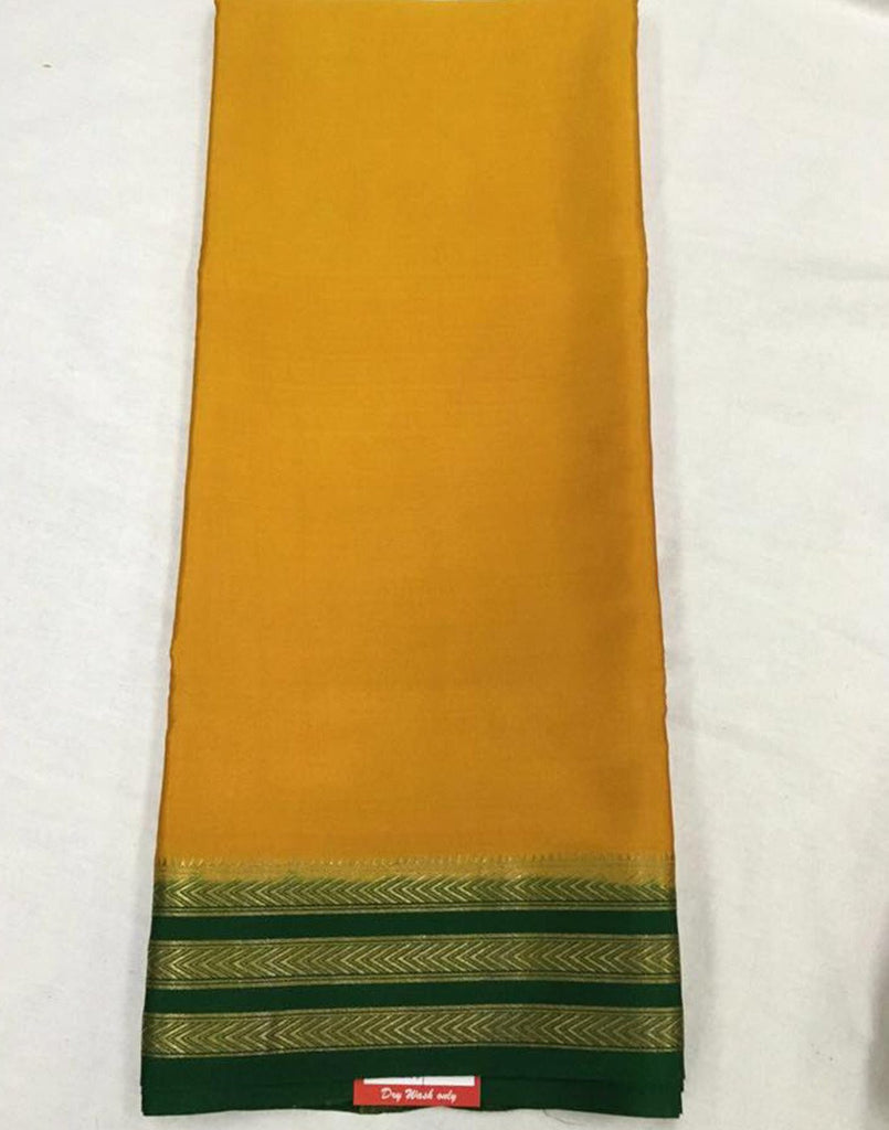 Yellow Mysore silk Saree