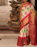 Cream Pure Ikkat Silk Saree