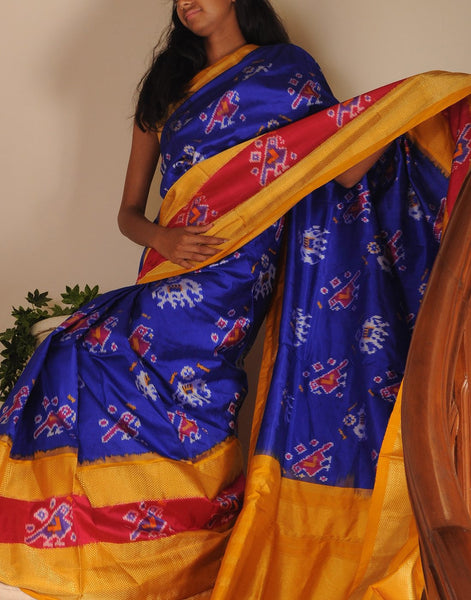 Blue Pure Ikkat Silk Saree