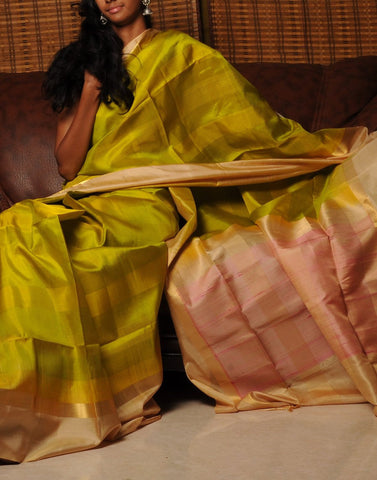 Yellowish Green Bendex Silk Saree