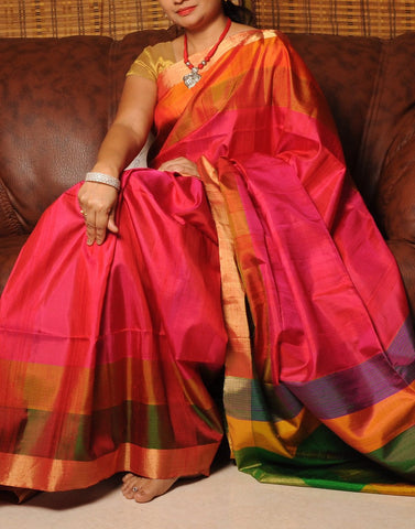 Pink Matka Silk Saree