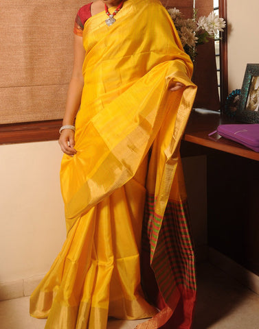 Rich Yellow Soft  Silk Saree