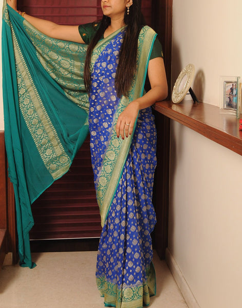 Blue Banaras Crepe Silk Saree