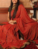 Red Banaras Crepe Silk Saree