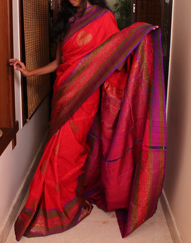 Red Banaras Dupion Silk Saree