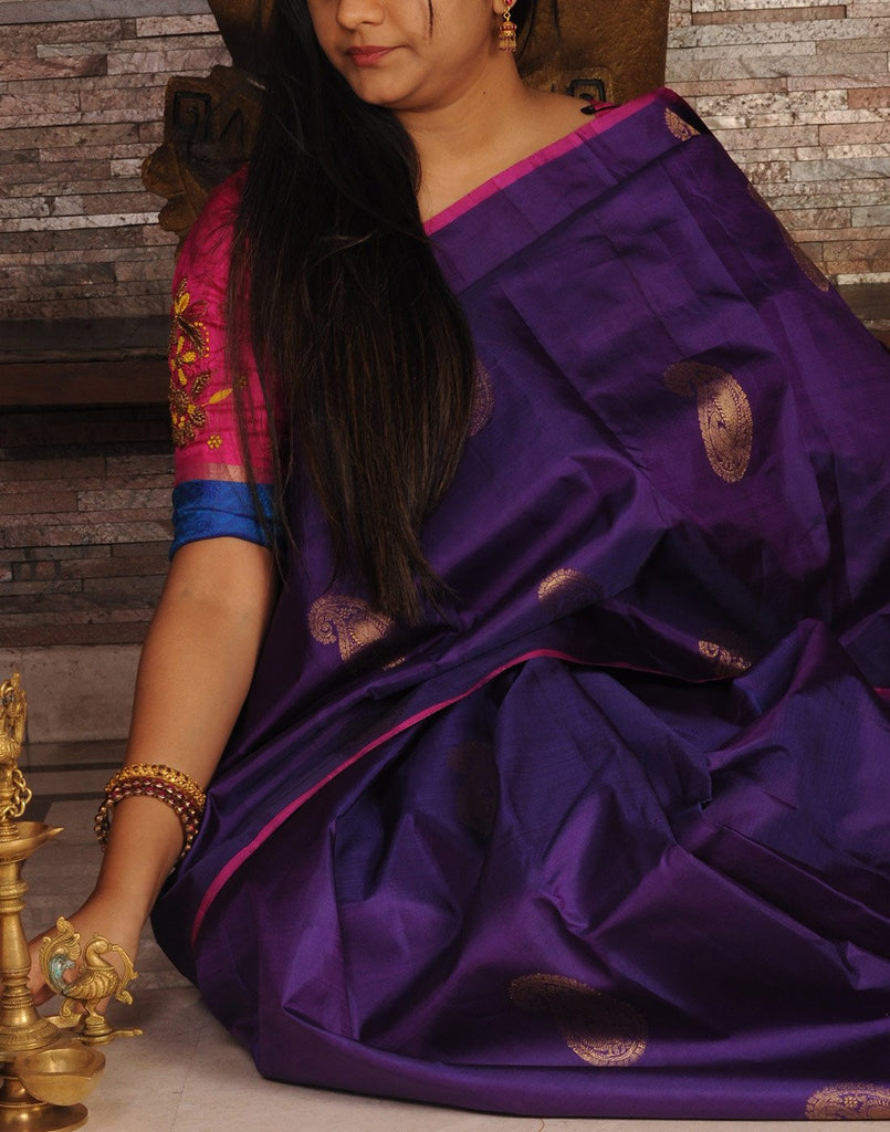Purple Kanjeevaram Silk Saree