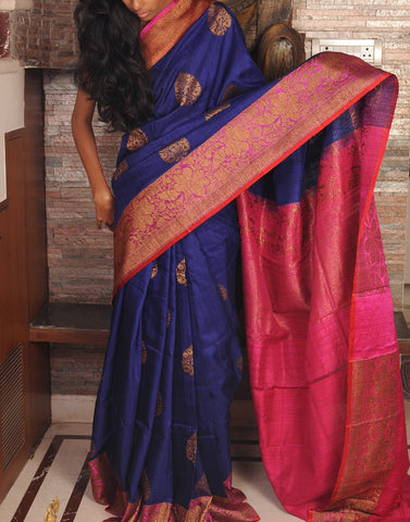 Royal Blue Banaras Dupion Silk Saree