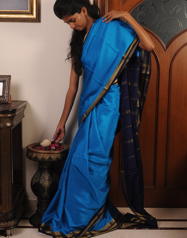 Sky Blue Mysore silk Saree