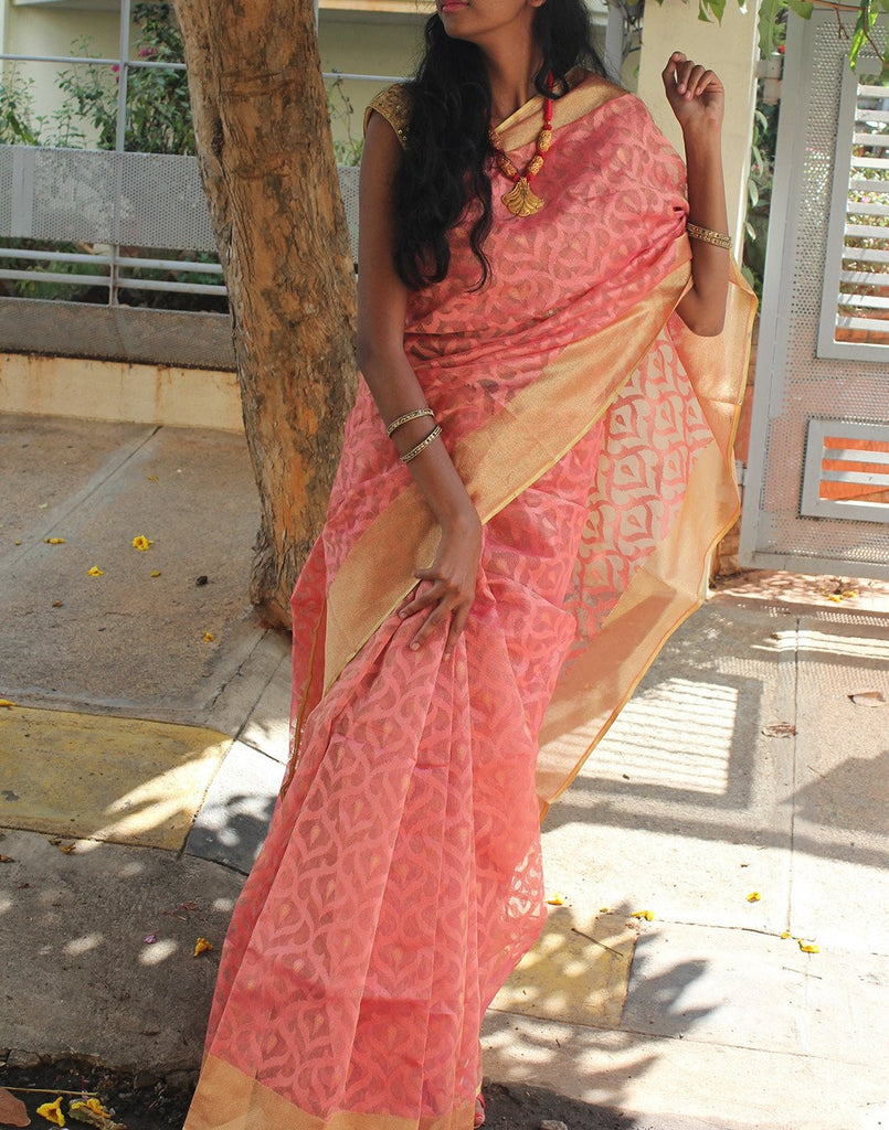 Peach  Banaras Net Saree