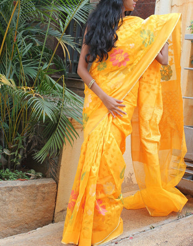 Yellow  Banaras Net Saree