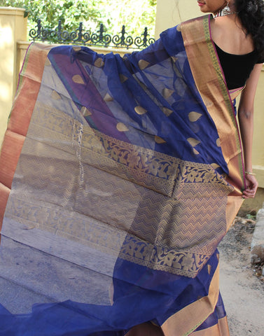 Royal Blue Narayanpet Silk