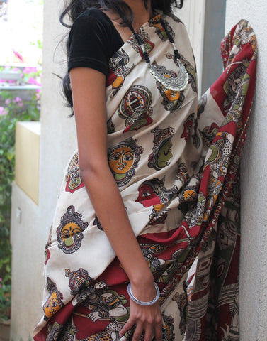 Cream Soft Silk Kalamkari Saree