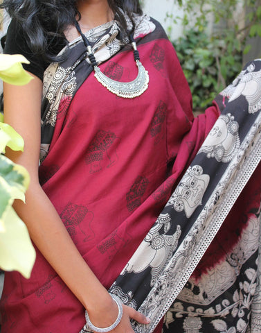 Maroon Soft Silk Kalamkari Saree