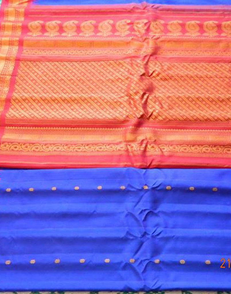 Ink Blue Gadwal Silk Saree