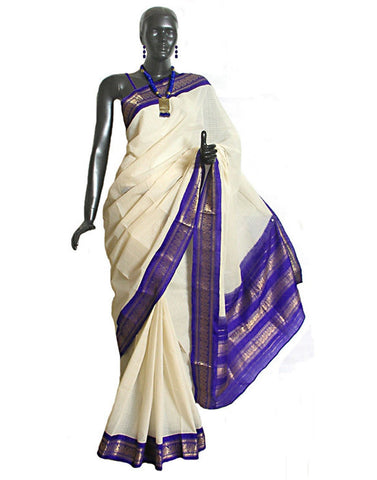 Cream Gadwal Sico Silk Saree