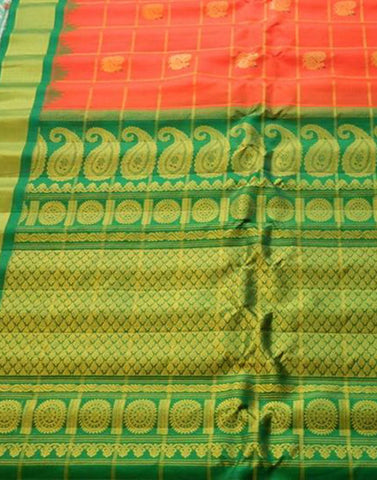Orange Gadwal Silk Saree