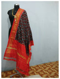 Black with Orange border ikkat Silk Dupatta