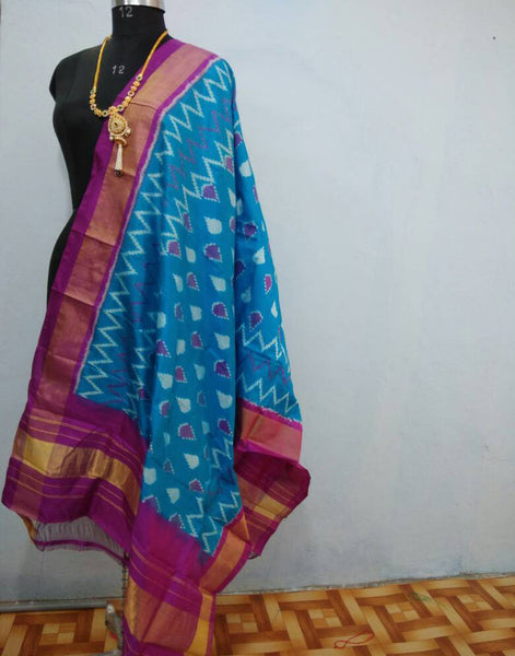 Sky Blue with Purple border ikkat Silk Dupatta