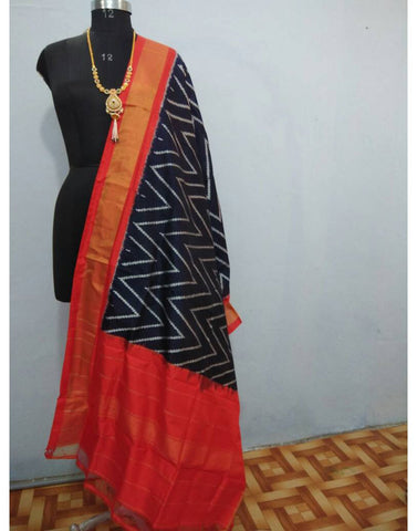 Rich Black with Orange border ikkat Silk Dupatta