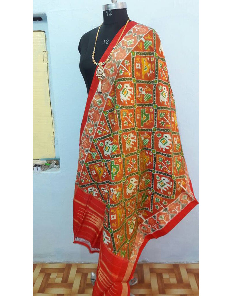 Multicolour ikkat Silk Dupatta with Elephant motifs