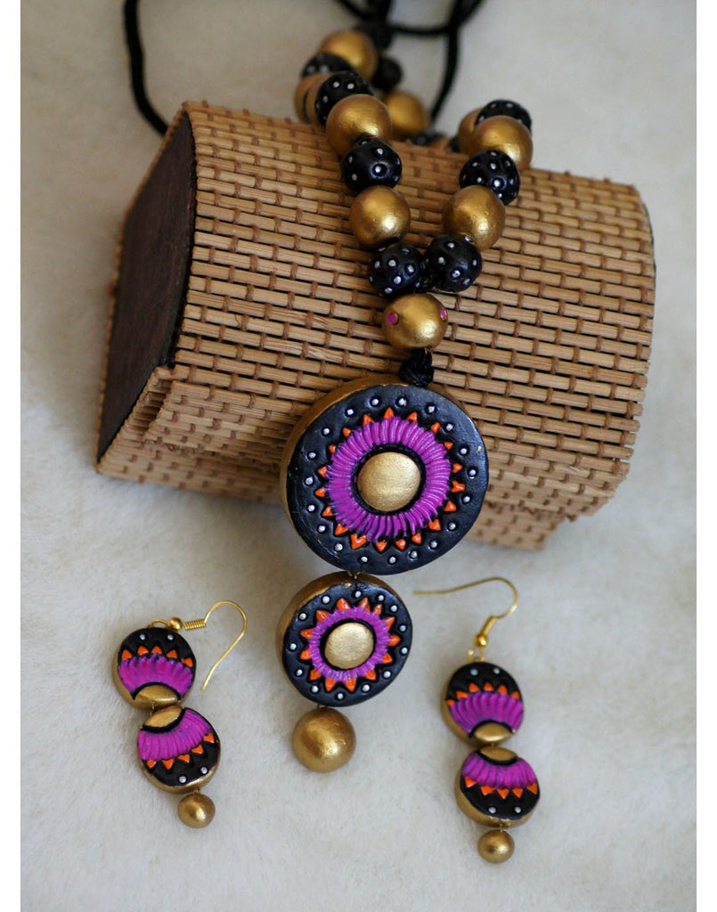 Handcrafted Terracotta necklace with Jhumkas