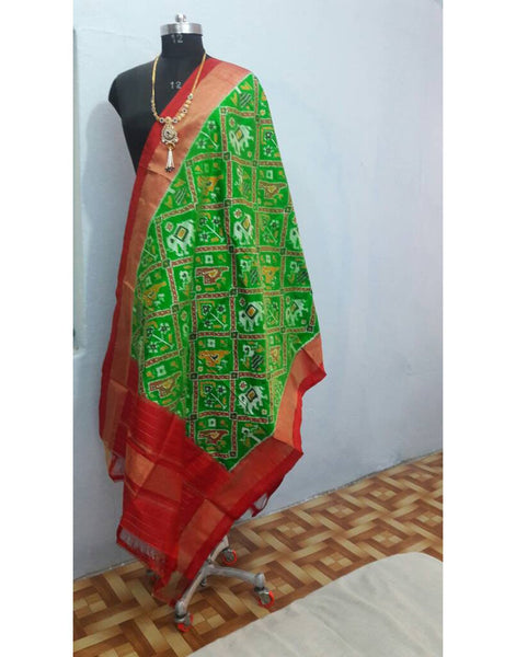 Parrot Green ikkat Silk Dupatta with elephant motifs