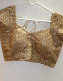 Gold Netted Blouse With Embroidery