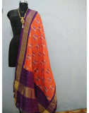 Orange with Purple border ikkat Silk Dupatta