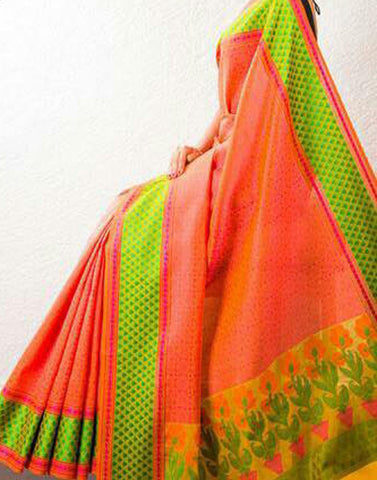 Orange Banaras Handloom Saree