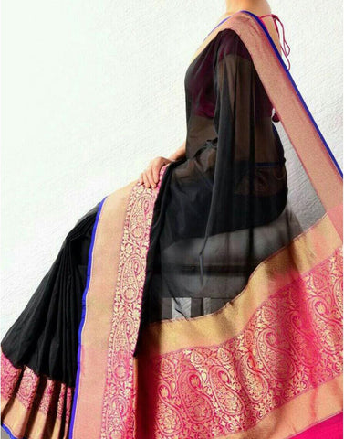 Rich Black Banaras Handloom Saree