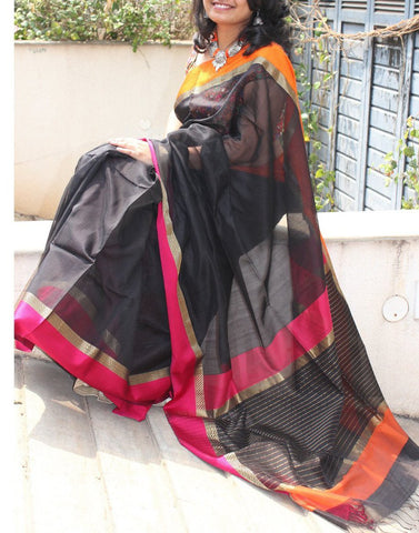 Charcoal Black Maheshwari handwoven saree