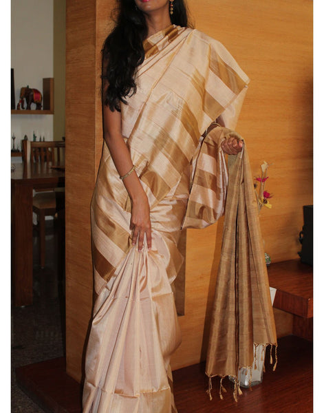 Cream Bendex Silk Saree