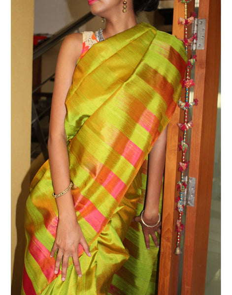 Parrot Green Bendex Silk Saree