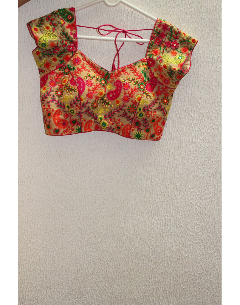 Multicoloured Blouse With Floral Embroidery