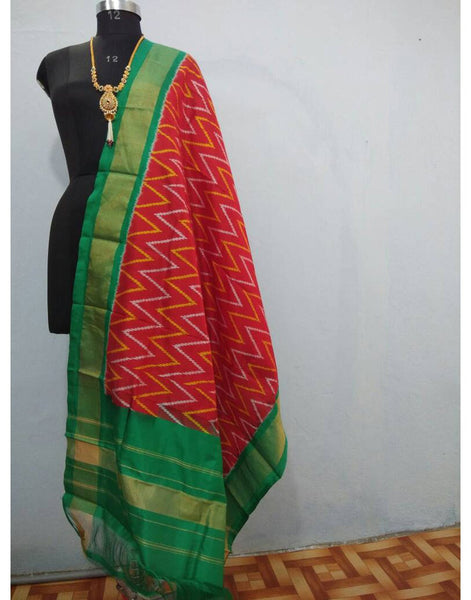 Red with Green border ikkat Silk Dupatta