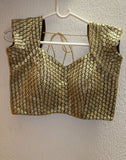Gold Netted Blouse With self Embroidery