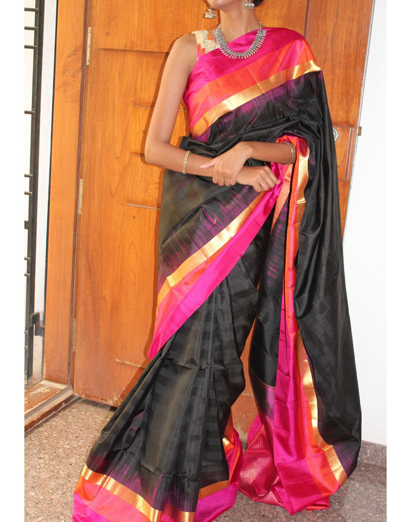 Black Bendex Silk Saree