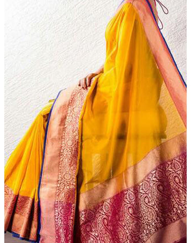 Yellow Banaras Handloom Saree