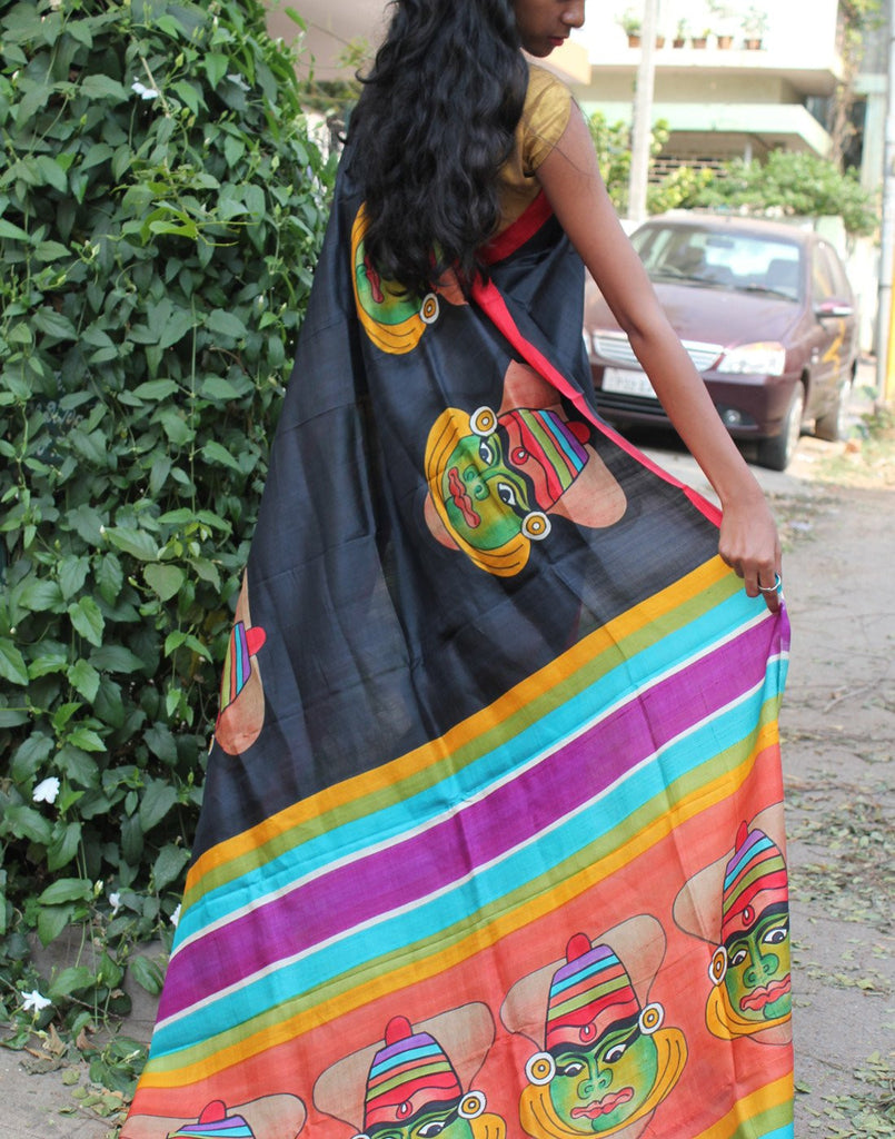 Black Kathakali Handpainted Bishnupuri Silk Saree
